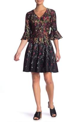 Gabby Skye Floral Bell Sleeve Scuba Fit & Flare Dress