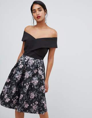 Chi Chi London off shoulder 2 in 1 jacquard prom dress