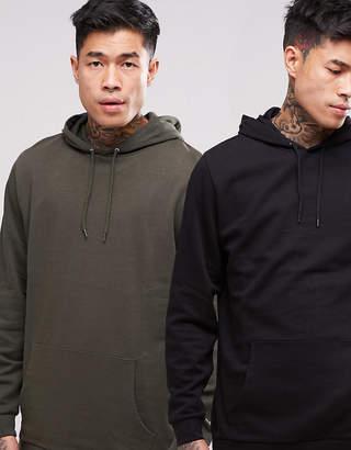 Asos DESIGN Longline Hoodie 2 Pack Khaki/ Black SAVE
