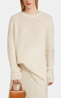 Jil Sander Women's Distressed Mohair-Silk Crewneck Sweater - Cream