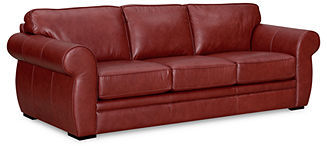 "Carmine Leather Sofa Bed, Queen Sleeper 94""W x 39""D x 35""H"