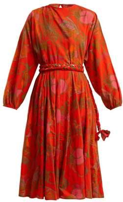 Rhode Resort - Devi Floral Print Tie Waist Cotton Dress - Womens - Orange Print