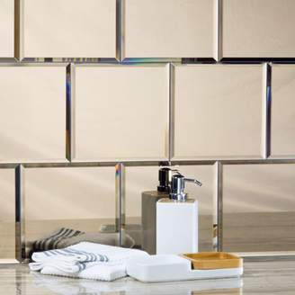 "Abolos- Echo 8"" x 8"" Mirror Glass Backsplash Tile in High Gloss Gold (15.8sqft / 36pc Box)"