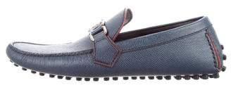 Louis Vuitton Saffiano Leather Monogram Loafers