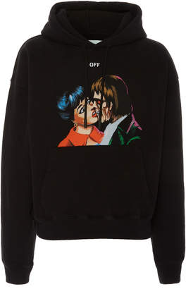 Off-White Printed Cotton-Jersey Hooded Sweatshirt