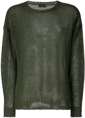 Roberto Collina distressed crew neck sweater