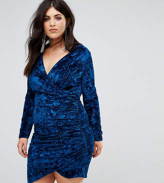 Club L London Plus Plus Velvet Wrap Front Mini Dress