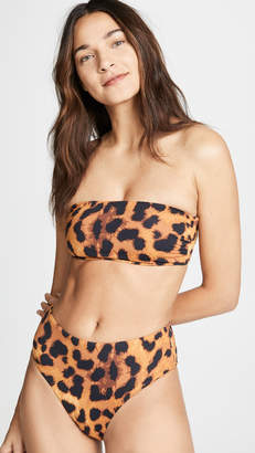 The Upside Leopard Bandaeu Bikini Top
