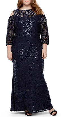 58f9cab540 BLU SAGE Blu Sage 3 4 Sleeve Cold Shoulder Sequin Lace Evening Gown-Plus