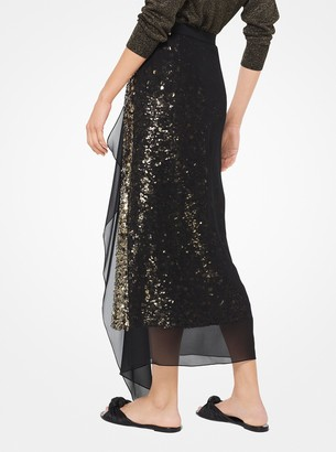 Michael Kors Gold Leaf-Embroidered Silk-Georgette Skirt