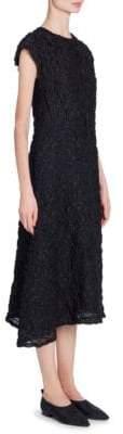 Jil Sander Asymmetric Textured Silk-Blend Midi Dress