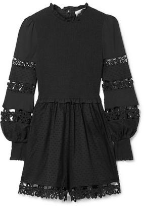 Zimmermann Primrose Daisy Smocked Crochet-trimmed Fil Coupé Cotton-voile Playsuit - Black