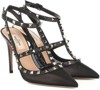 Valentino Rockstud mesh and leather pumps