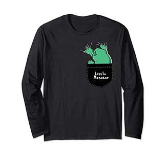 Faux Pocket - Hand Drawn Cool Monster Long Sleeve T-Shirt
