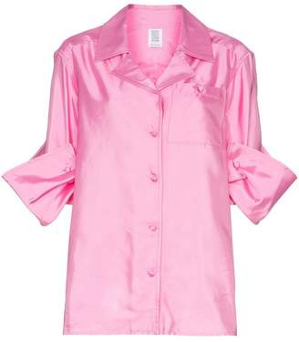 Rosie Assoulin silk peekaboo button shirt