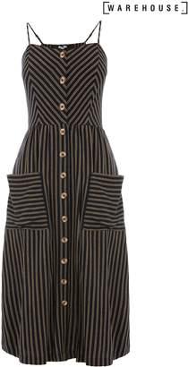 Next Womens Warehouse Black Stripe Button Through Linen Dress
