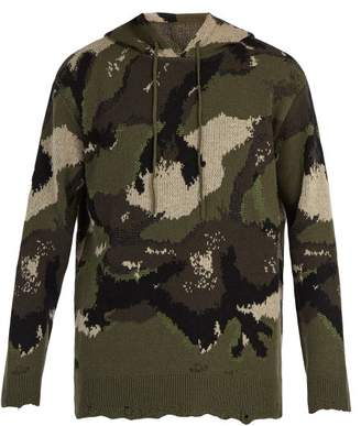 Valentino Distressed Camouflage Knit Hooded Sweater - Mens - Green Multi