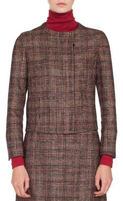 Akris Stan Zip-Front Round-Neck Wool-Silk Plaid Jacket