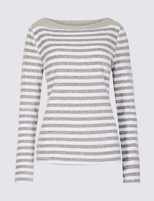 Marks and Spencer Cotton Rich Velour Striped Long Sleeve Top