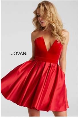 Jovani Red Velvet Dress