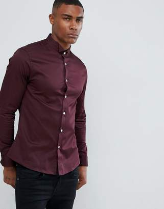 Asos DESIGN slim sateen shirt in burgundy with wing collar and double cuff
