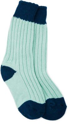 The Elder Statesman Yosemite Two-Tone Ribbed Cashmere Socks