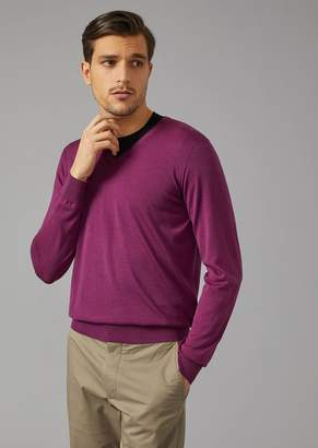Giorgio Armani V Neck Sweater In Virgin Wool