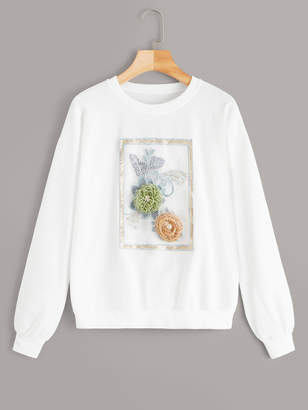 Shein Applique & Sequin Detail Sweatshirt