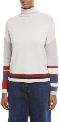 Loro Piana Turtleneck Long-Sleeve Striped Cashmere Sweater