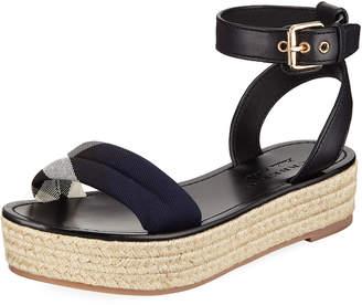 Burberry Leather and Check Platform Sandal