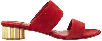Salvatore Ferragamo Red Suede Mules & Clogs