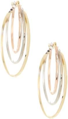Candela Tricolor 14K Gold Diamond Cut 25mm Hoop Earrings
