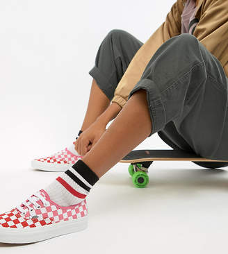 Vans Exclusive Red And Pink Checkerboard Authentic Sneakers