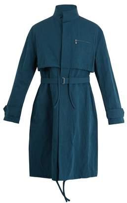 Acne Studios Mali Cotton And Linen Blend Overcoat - Mens - Blue