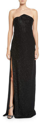 Ahluwalia Chalet Strapless Slit-Skirt Shimmered Column Gown