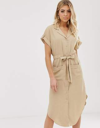 BEIGE Parallel Lines soft utility shirt dress with tie waist in