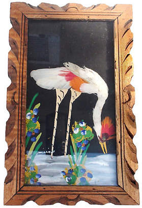 One Kings Lane Vintage Red-Crested Crane Collage - Laurie Frank Art
