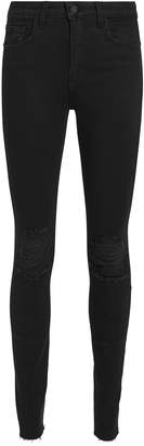 L'Agence Marguerite Black Ripped High-Rise Skinny Jeans