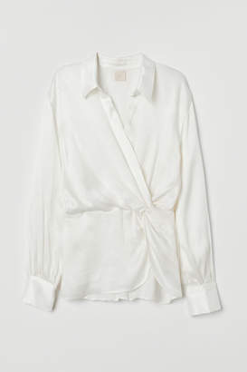 H&M Wrapover Blouse with Collar - White