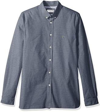 Lacoste Men's Long Sleeve Solid Oxford Stretch Button Down Collar