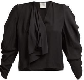 A.W.A.K.E. Mode A.w.a.k.e. Mode - Asymmetric Gathered Sleeve Top - Womens - Black