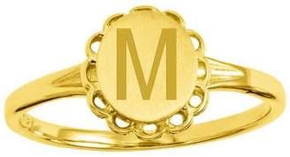 Personalized Satin Flower Design Signet Ring, 14K Gold