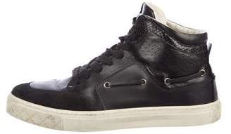 Gucci Ayers-Trimmed High-Top Sneakers