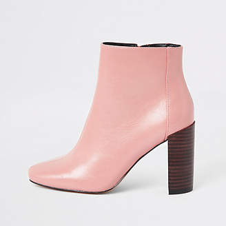 River Island Pink patent square toe boots