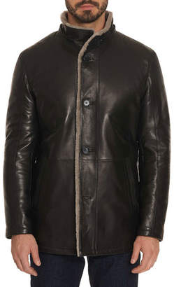 Robert Graham Men's Benson Shearling Fur-Lined Leather Jacket