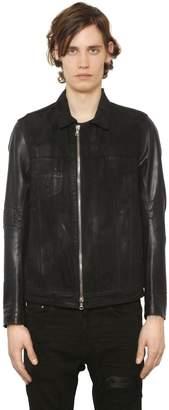Amiri Destroyed Coated Denim & Leather Jacket