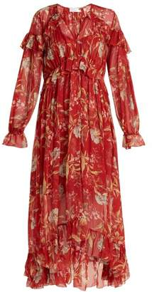 Zimmermann - Corsair Iris Floral Print Silk Georgette Dress - Womens - Red Multi