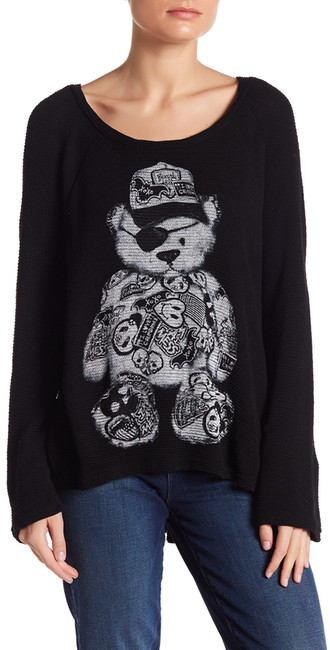 Lauren Moshi Crew Neck Graphic Knit Pullover