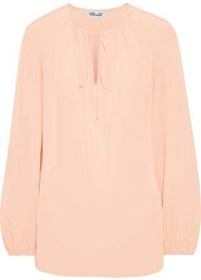 Diane von Furstenberg Bow-detailed Washed-silk Blouse
