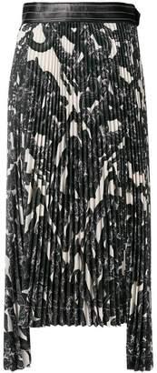Helmut Lang printed pleated midi skirt